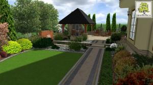 Przykład małego ogrodu miejskiego. Koncepcja była kreowana tak, aby maksymalnie wykorzystać przestrzeń wokół domu jednocześnie powiększając wizualnie pomieszczenia budynku mieszkalnego.