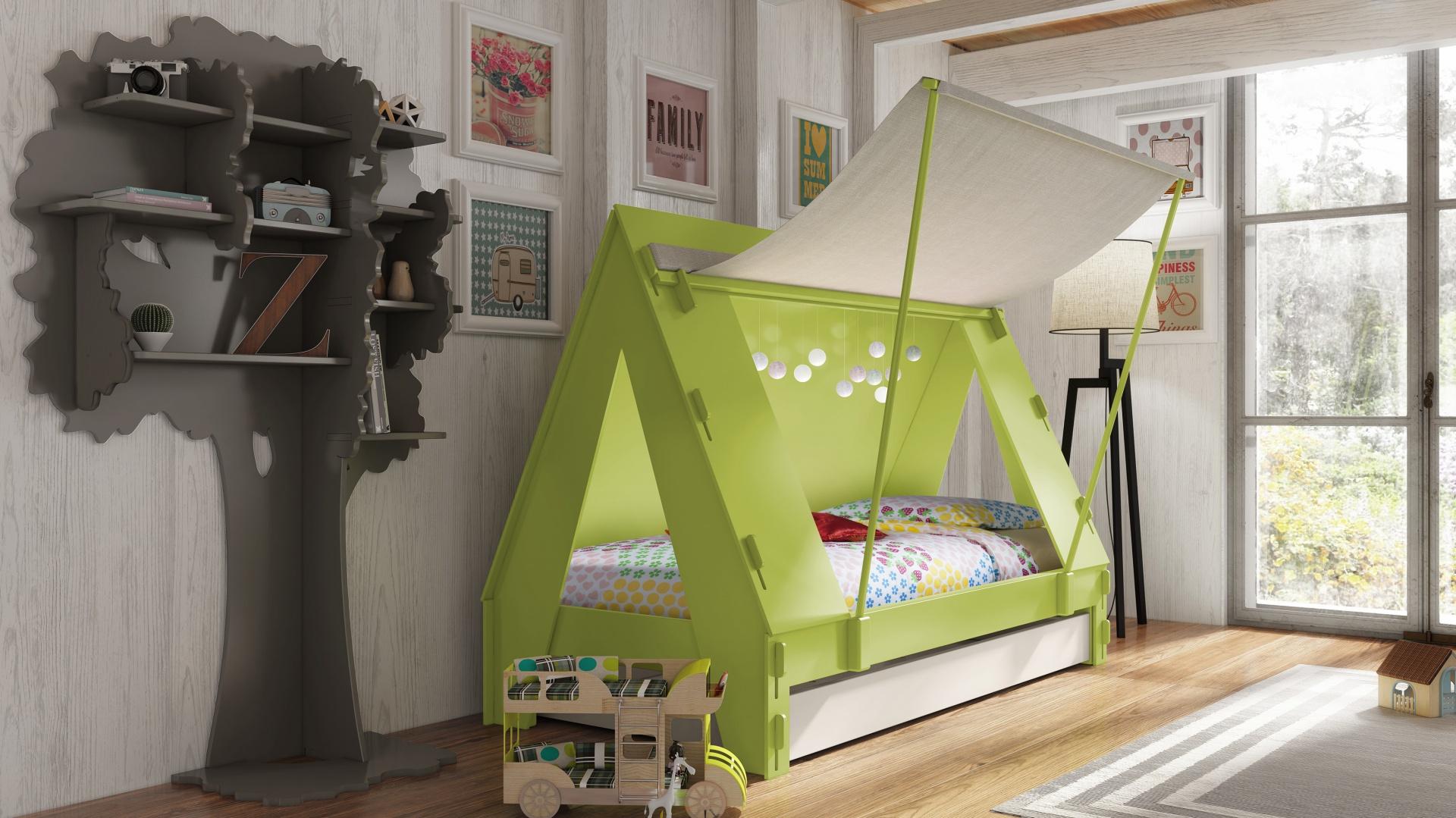 Oryginalne łóżko w soczystym, zielonym kolorze w formie namiotu. Fot. Cuckooland.