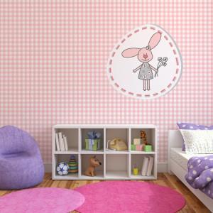 Ekologiczna tapeta w różową kratkę z Minka Kids. Fot. Minka Kids.