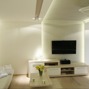 Ciemny telewizor jest najmocniejszym akcentem w salonie o barwie ecru. Projekt Marta Kilan. Fot. Bartosz Jarosz.