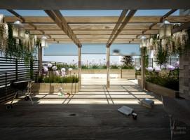 Ogród na dachu zaprojektowany w stylu nowoczesnym, minimalistycznym, znajdujący się w centrum Warszawy, przeznaczony dla 3-osobowej rodziny.