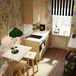 Zestaw mebli kuchennych z programu Metod/Haganäs. Drzwi i szuflady Haganäs z wykończeniem z okleiny brzozowej i delikatnie domykającymi się szufladami Maximera. Obudowa szafek z foli melaninowej. Biały laminowany blat. Cena: 2.990 zł, IKEA.