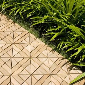 Mozaika tarasowa marki Deesawat wykonana z wodoodpornego drewna teakowego pozwala na niepowtarzalną i niezwykle elegancką aranżację przestrzeni wokół domu. Fot. Deesawat.