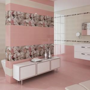 Różowe oraz kremowe płytki ścienne z pięknym dekorem przeskalowanych kwiatów z kolekcji Dream marki  Ceramicas Myr. Fot. Ceramicas Myr.