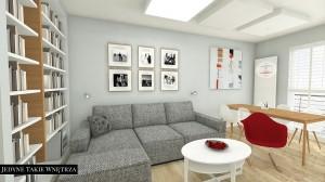 Projekt wnętrza mieszkania (salon) pracowni JedyneTakieWnętrza.