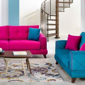 Różowa i turkusowa sofa z kolekcji Vivw marki Istikbal. Fot. Istikbal.