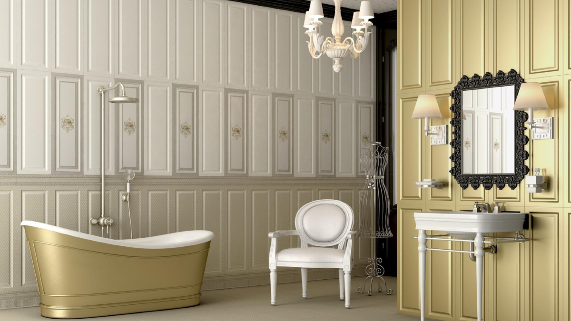 Płytki ceramiczne z kolekcji Legacy marki Aparici dostępne w kolorze białym, złotym oraz z subtelnym kwiatowym dekorem. Doskonałe podkreślą charakter klasycznych wnętrz. Fot. Aparici.