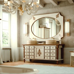 Meble do łazienki z kolekcji Savino marki Zappalorto dostępne w białym kolorze z licznymi zdobieniami. Fot. Zappalorto.
