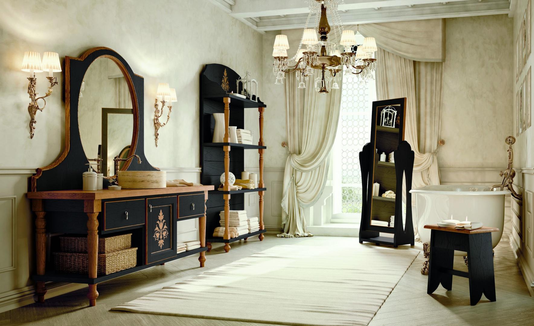 Czarne meble łazienkowe z kolekcji Savino marki Zappalorto to renesans bogato zdobionych form w całkiem nowoczesnej odsłonie. Fot. Zappalorto.