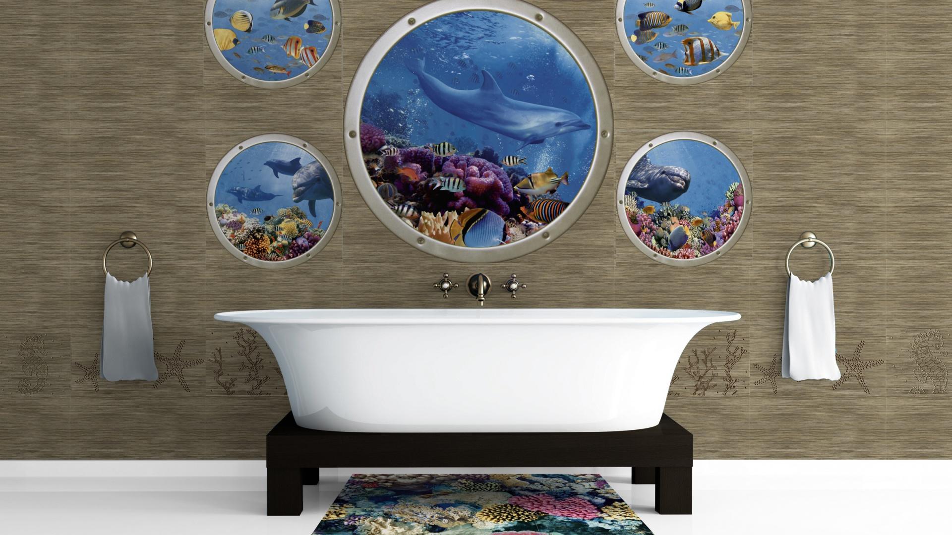 Mural Poseidon marki Ceramica Latina to przepiękne dekoracje ścienne przywołujące niepowtarzalną urodę raf koralowych. Fot. Ceramica Latino.