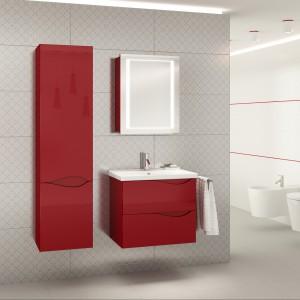 Kolekcja Murcia to ciekawe wzornictwo połączone z kompaktową formą dostosowaną do niewielkich łazienek. Wyfrezowane, delikatne łuki frontów pełnią rolę uchwytów. Fot. Defra.