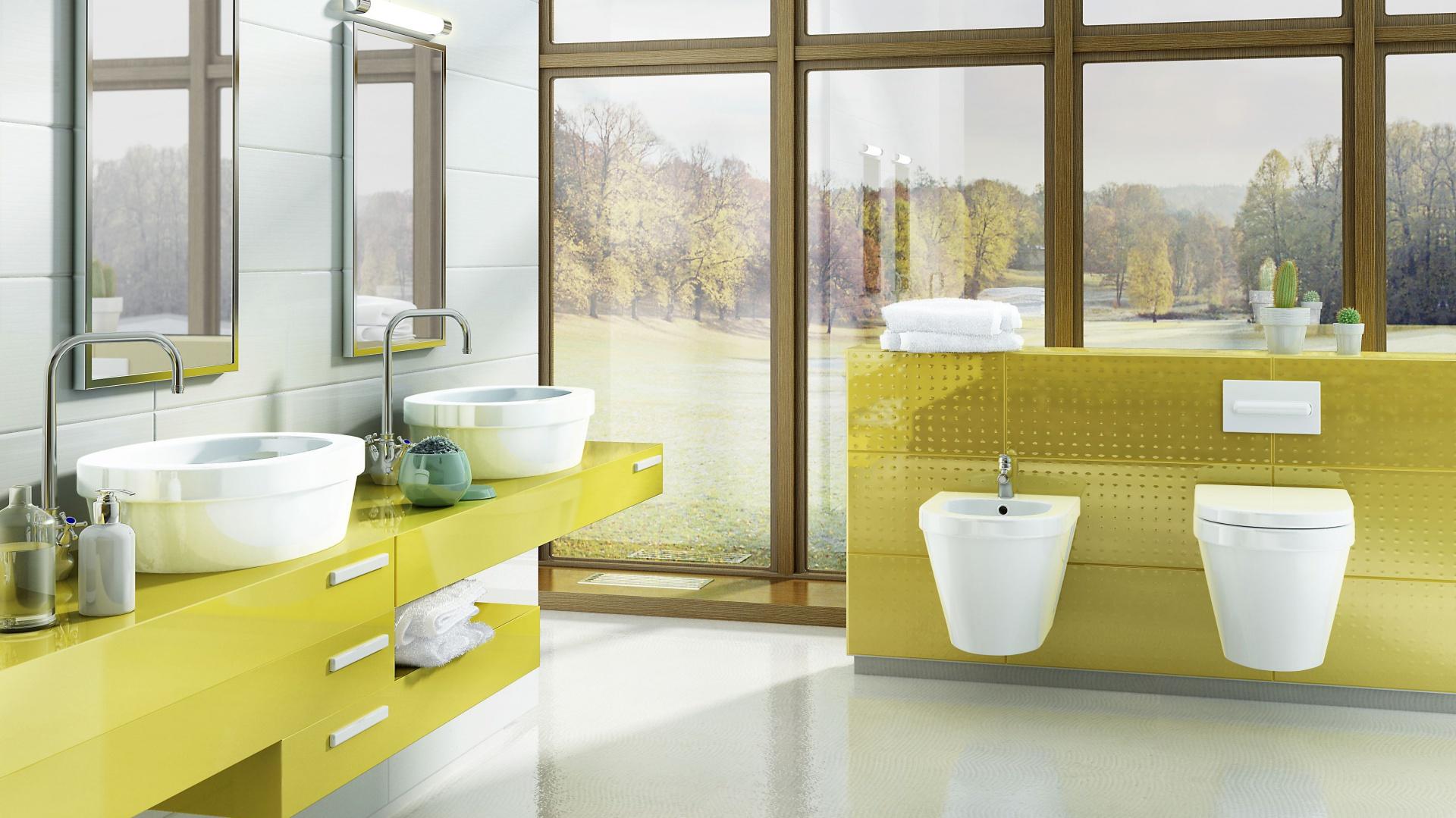 Zestaw mebli do łazienki Benque firmy Hybner wykonano z płyty lakierowanej na wysoki połysk w soczystym, seledynowym kolorze. Fot. Hybner.