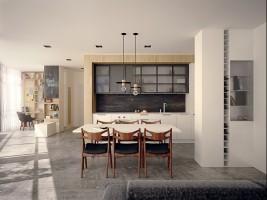 Apartament PN - salon z aneksem kuchennym.