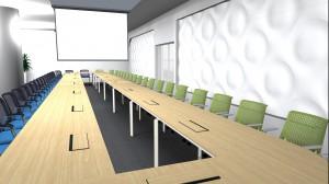 Duża sala podzielona na sekcję szkoleniowo-konferencyjną dla 50 osób, oraz wydzieloną szkłem część do telekonferencji oraz odpoczynku lub nieformalnych spotkań.