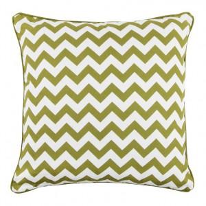 Poduszka dekoracyjna, w nowoczesny biało-zielony wzór. Poszewka zapinana na zamek. Fot. Black Red White.