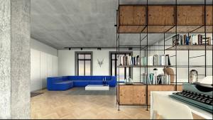 Projekt wnętrza domu na Saskiej Kępie - salon.