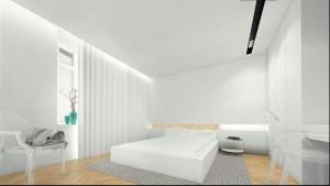 Projekt wnętrza domu na Saskiej Kępie - sypialnia.