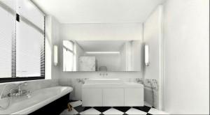 Projekt wnętrza domu na Saskiej Kępie - łazienka.
