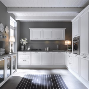 Kuchnia Kasetta z linii Senso Kitchens inspirowana stylem prowansalskim w kolorze biały canadian. Materiał: płyta MDF, folia PVC. Organizery do szuflad i szafek. W zestawie znajduje się 12 elementów. Cena: od 3.346 zł, Black Red White.