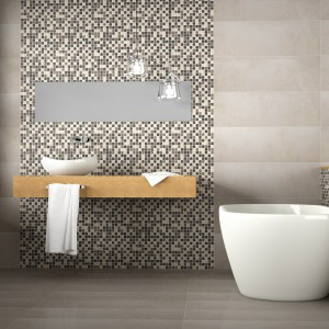 Wielkoformatowe płytki ścienne z kolekcji Mates marki Togama tworzą idealne tło dla utrzymanej w różnych odcieniach beży i brązów mozaiki. Fot. Togama.