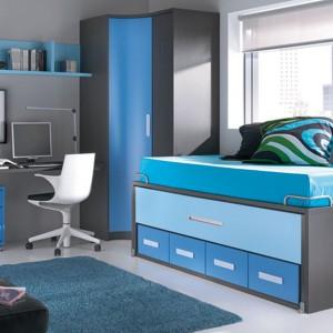 Szaro-niebieski pokój dla chłopca. Fot. Circulo Muebles.