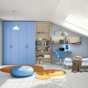 Niebieską aranżację rozświetlają żółte dodatki. Fot. Colombini Casa.