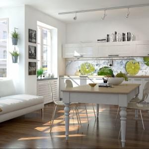 Smakowite limonki skąpane w wodzie nadadzą wesoły ton każdej kuchni. W jasnym wnętrzu będą również mocnym elementem dekoracyjnym pięknie ożywiającym przestrzeń. 109 zł/m² wydruk na lateksie laminowanym, 149 zł/m² winyl na fizelinie laminowany, LivingStyle.pl.