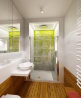 Łazienka z murem w tle.