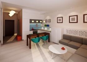 Kolorowe em - salon z kuchnią.