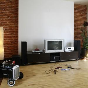 Zakomponowana z czerwonej cegły główna ściana salonu stanowi znaczące tło dla białego panelu telewizyjnego. Zastąpiła ona także wszelkiego rodzaju dekoracje ścienne. Fot. Bartosz Jarosz.
