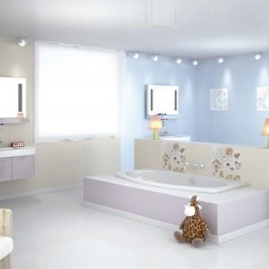 Płytki ceramiczne z kolekcji Vichy Jet utrzymane zostały w jasnych, pastelowych barwach idealnych do kreacji przestrzeni dziecięcych. Do kompletowania z zabawnymi dekorami, które umila kąpiel maluchom. Fot. ElMolino.