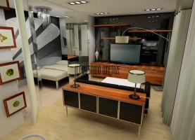 Projekt kawalerki zakładający zmianę układu pomieszczeń przede wszystkim. W chwili obecnej mieszkanie składa się z dużej kuchni, pokoju, przedpokoju i łazienki. Inwestorom zależało na takim połączeniu pomieszczeń, aby zachować przestrzeń, a jednocześnie trochę intymności. Projekt zakłada połączenie pokoju z kuchnią i w tej przestrzeni wydzielenie małej sypialni z dużą szafą i miejscem do pracy. Stylistyka wnętrza bazuje na elementach połyskliwych połączonych z eleganckim fornirem z wyraźnym rysunkiem, czerni i bieli połączonej z brązami oraz szarościach łączonych z beżami. Oto efekt.