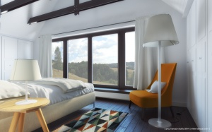 Sypialnia z odkrytą więźbą dachową.