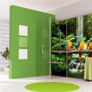 Fototapeta z motywem egzotycznych papug dostępna w wersji samoprzylepnej pokryta laminatem w wykończeniu matowym bądź z połyskiem.  Od 126 zł, Grafdeco.pl