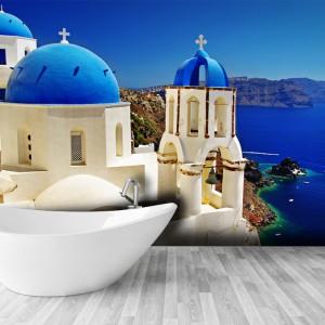 Fototapeta z motywem Santorini dostępna w wersji lateksowej oraz jako Smart Stick - samoprzylepna tapeta wielokrotnego użytku. 79/m2 zł, 99/m2 zł, Picassi.pl