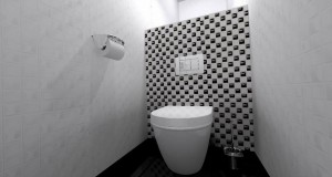 Biało-czarna łazienka.