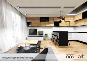 Apartament Borkowska - salon z aneksem kuchennym.