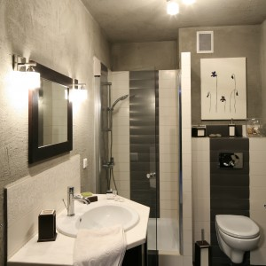 Mimo niewielkich gabarytów łazienki zmieściły się tu jej wszystkie podstawowe funkcje - praktyczny prysznic, obszerna umywalka oraz odrębnie wydzielona strefa WC. Projekt Magdalena Kwiatkowska. Fot. Bartosz Jarosz.