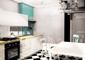 Ograniczona gama kolorystyczna oraz kilka mocnych wzorów - szachownica na podłodze, oryginalna lampa Zettel'z 5, cztery różne krzesła to tworzą niepowtarzalną kuchnię.
