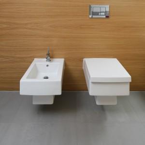Podwieszane sanitariaty doskonale uzupełniają wyposażenie łazienki. Projekt Małgorzata Galewska. Fot. Bartosz Jarosz.