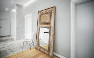 Połączenie nowoczesnej architektury ze starymi elementami zabytkowej kamienicy... Stare drzwi z litego drewna przerobiliśmy na lustro, to dodaje oryginalności wnętrzu...