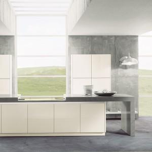 """W zamkniętym stanie """" silent move """" tworzy elagancki obiekt w mieszkalnej części pomieszczenia. Po otwarciu to stylizowane, innowacyjne rozwiązanie uwalnia swoją funkcję i zaprasza do wspólnego gotowania i rozkoszy kulinarnych. Fot. Lome."""
