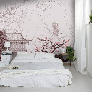 Kwitnące wiśnie, delikatnie linie połączone z graficznymi motywami. Fot. Picassi.