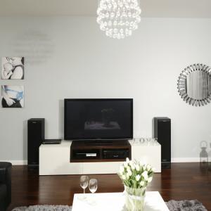 Białe ściany salonu pozwoliły wyeksponować wszystkie dekoracje wnętrza. Podkreśliły też niezwykły urok ciemnej drewnianej podłogi.  Projekt: Magdalena Biały. Fot. Bartosz Jarosz.