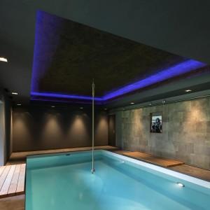 Ściany w pomieszczeniach mieszczących basen kąpielowy pokryto skórą uprzednio zaimpregnowaną. Dzięki temu stała się ona odporna na wpływ wilgoci w powietrzu. Fot. Alphenberg
