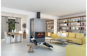 Salon w stylu minimalistycznym, ożywionym intensywną żółcią kanap oraz drewnem. Z drewna wykonane są półki biblioteczki, stół oraz niewielkie komody. Echa stylu francuskiego przejawiają się w  czarnym metalu elementów konstrukcyjnych biblioteki, czarnych metalowych lampach oraz ciemnych ramach dużych okien.
