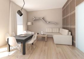 Salon w apartamencie projektowanym z przeznaczeniem do wynajmu, dlatego zastosowano uniwersalny układ i spokojną, stonowaną kolorystykę.