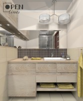 Łazienka w stylu eco z eleganckimi dodatkami.