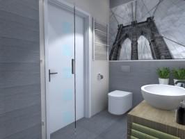 Kto powiedział, że mała łazienka nie może być funkcjonalna i piękna? Udało nam się spełnić marzenie o męskiej, komfortowej łazience. Nad WC znalazła się obszerna szafka, na frontach została naklejona fototapeta. Charakteru nadają płytki z kolekcji Tubądzina – Elegant Natur.