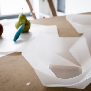 Autor: Isia Czartoryska, II rok domestic design School of Form Projekt: deska do krojenia orgiami Opis: Prototyp deski do krojenia składającej się w naczynie. Projekt rozwiązuje problem przesypywania pokrojonych składników z deski do miski. Oszczędza też przestrzeń